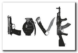 Steez Love Hate guns QUALITY Canvas Art Print pop Poster - DJ ART