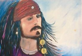 Painting in oil and acrylic of Captain Jack Sparrow