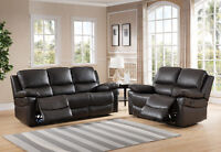 NEW Top Grain Leather Reclining Sofa Sets!  FREE Delivery!