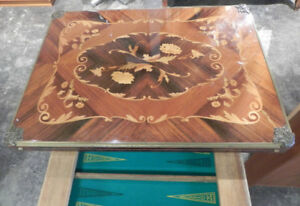 MARQUETRY INLAID LOUIS XV GAMES TABLE
