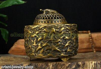 Antique Dragon Style Ancient Bronze Statue Crane Lion India Incense Burner