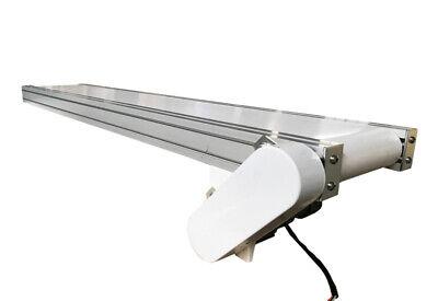 110v Electric White Pvc Belt Conveyor Mesano Legsvarious Speed Adjustable