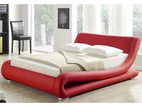 Ex display Red Faux Leather designer double or King Size - 5FT Bed Frame (Free Local Delivery)