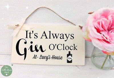 (Personalised Gin o'clock  Plaque Friend Gift Housewarming Sign Cream)