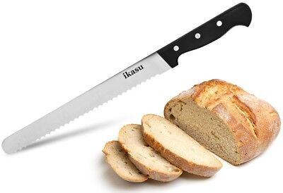 ikasu 10 inch Bread Knife, Sharp Stainless Steel Serrated Edges, Full Tang Blade