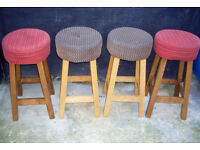 TALL, CHUNKY SOLID WOODEN PUB STOOLS: HOME BAR, MAN CAVE, PUB SHED, BISTRO, PUB, CLUB, GAMES ROOM