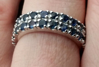 5.06Ct Blue Sapphire Eternity Band Ring / Double Row Sapphire Band Sz 8 / 29 tcw
