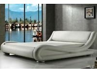 Monza Curvy White Faux Leather double Bed without mattress