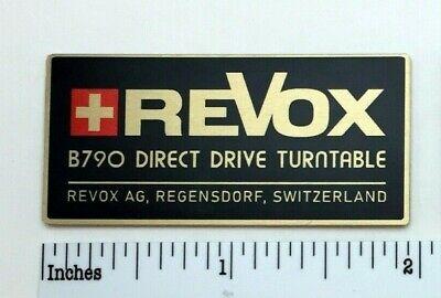 Revox B790 Direct Drive Turntable Badge Logo Emblem Custom Made Aluminum