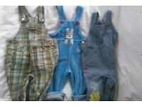 3 pairs dungarees 9-12 months