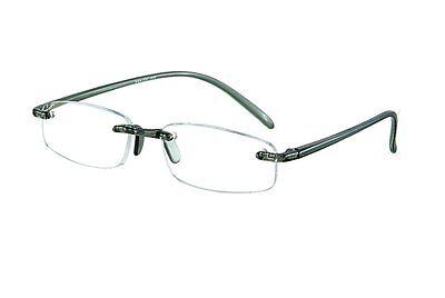 Lesebrille randlos Stärke +2,00 grau transparent Lesehilfe  Bohrbrille leicht