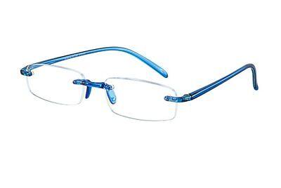 Lesebrille randlos Stärke +1,50 blau transparent Lesehilfe  Bohrbrille leicht