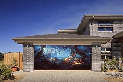 HALLOWEEN SPOOKY PUMPKIN 3D EFFECT GARAGE DOOR BILLBOARD STICKER COVER](Garage Door Decorations Halloween)