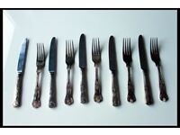 Vintage Cutlery Set of 6 Kings Pattern forks 8 inch & knifes 9.7 inch VINERS UK