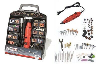 RIBITECH KIT MINI TRAPANO PER MODELLISMO 135W set 300 pezzi accessori multiuso