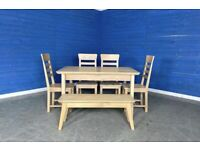 Designer 'Cambridge' Solid Oak EXTENDABLE Dining Set with 4 Chairs and a Bench