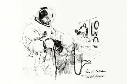 APOLLO 11 ASTRONAUT MICHAEL COLLINS SIGNED ARTIST PAUL CALLE SUITING UP PRINT