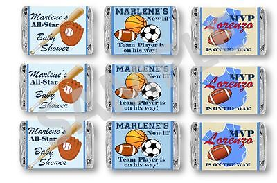 Sports Baby Shower Mini Candy Bar Wrappers - 1st Birthday/Baby Shower -Set of 60](Sports Baby Shower)