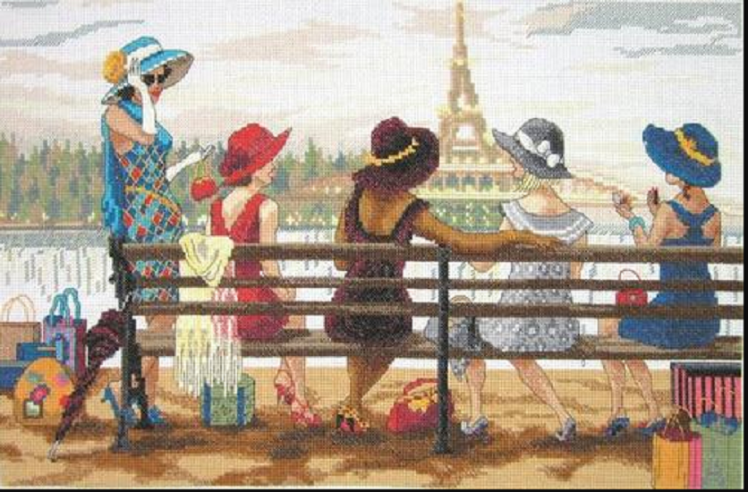 ladies day out paris counted cross stitch