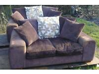 2 x 2 Seater Sofas Brown with Back Scatter Cushions