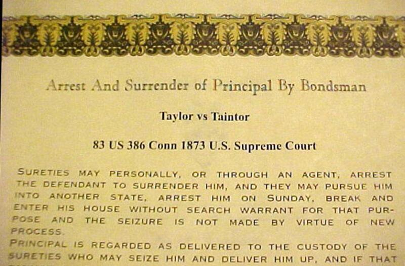 Taylor vs Taintor Bounty Hunter Bail Enforcement Decision Wall Certificate
