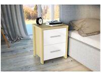 Bedroom 2 Drawer Bedside Chest / table White Gloss & Oak Modern Design (RRP £85)