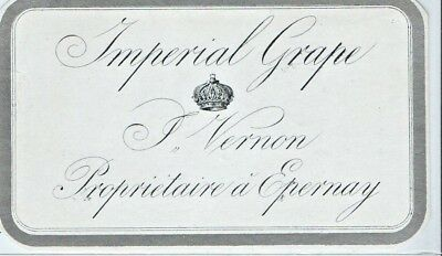 Imperial Grape P. Vernon Proprietaire Epernay France Wine Bottle Label c1910