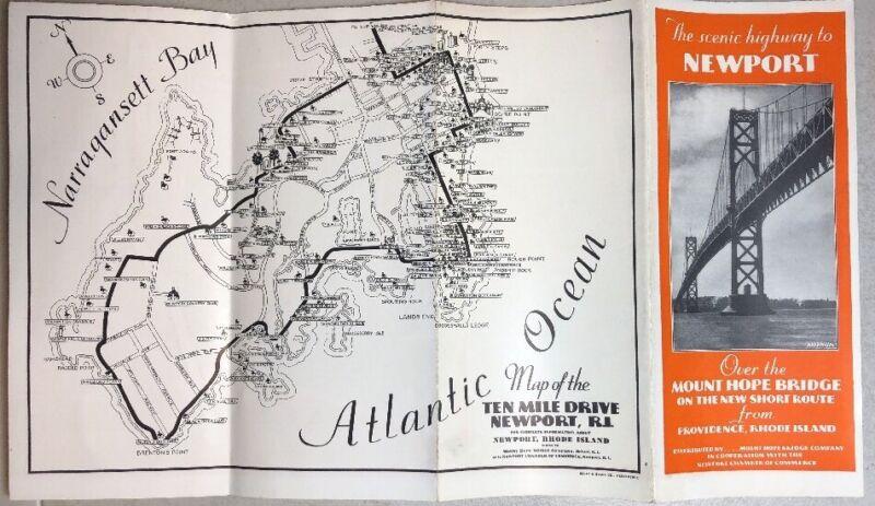 "1930's  Newport Rhode Island Brochure Map Mount Hope Bridge Company 16"" X 18"""