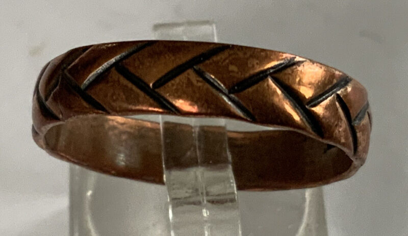 Beautiful Rare Vintage Estate Braided Copper Band Ring Sz 11.5 CP113
