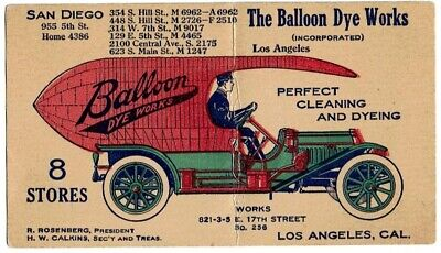 Trade Card w Image of Balloon Dye Works Truck - Fabric Cleaning & Dyeing 1910s