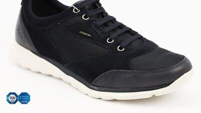 Geox Herren Schuhe Damian Gr.44 US 11 Sportlicher Sneaker Textil Leder Neu!!13