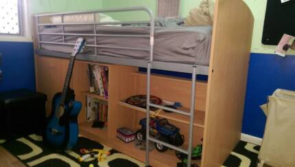 Single Loft Bed with inbuilt desk and bookcase Idalia Townsville City Preview