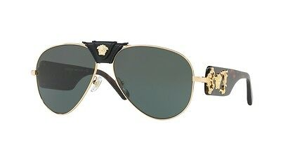Versace Mens VE 2150Q 100271 Gold Havana Frame Grey green Lens 62mm Sunglasses