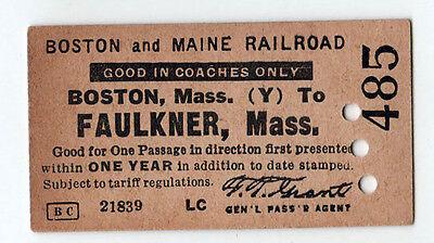 1930s BOSTON MAINE RAILROAD BM Train Ticket FAULKNER Massachusetts RR Trains