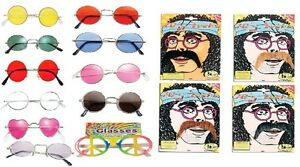 Beatles-60s-Lennon-Round-Hippy-Hippie-70s-Fancy-Dress-Moustache-Sunglasses