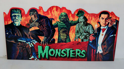 MONSTERS SIGN Frankenstein Mummy Creature Dracula Wolfman halloween modern retro