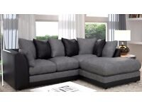 Brand New Aruba Italian Fabric Left and Right Arm Corner Sofa Black in Grey/Brown and Beige Colors