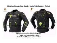 Lionstar Energy Motorbike Motorcycle Real Leather Jacket with CE Approved Armors