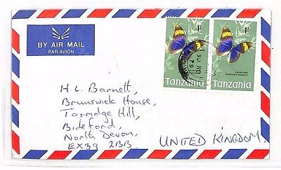 XX5 1979 TANZANIA Commercial Airmail Cover BUTTERFLIES {samwells-covers}
