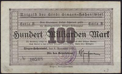 [11168] - NOTGELD SINGEN-HOHENTWIEL, Stadt, 100 Mrd Mk, 06.11.1923, Keller 4795x