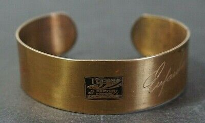 VTG 1934 A Century of Progress Worlds Fair Dirigold Cuff Bracelet Eufaula