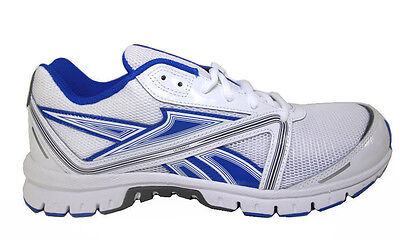 - Reebok  Men's Ultimatic White / Blue / Grey Leather And Mesh Running Shoes