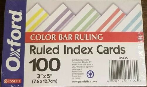"Oxford Ruled Index Cards Color Bar Ruling 100 3"" x 5"" - 05135"