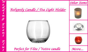 30 Clear Glass Fish Bowl Rolypoly Wedding Votive Candle Holders Tealight Holder