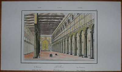 1835 print BASILICA OF ST. PAUL OUTSIDE THE WALLS, (Basilica Of Saint Paul Outside The Walls Rome)