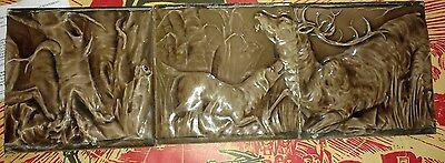 Vintage Cambridge 3-tile Set with Dog Stag Deer Forest Hunt