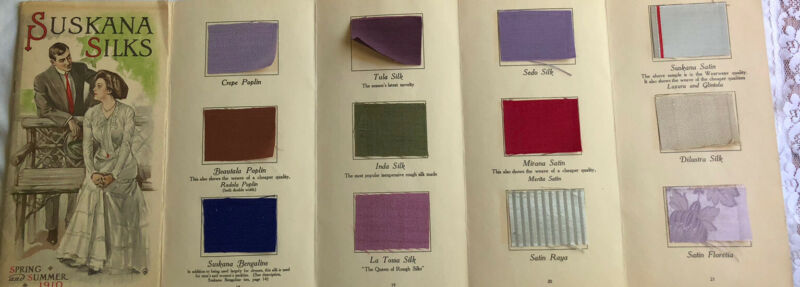Victorian Fashion & Fabric Silk Color Card Swatches Letter 1910 Suskana NY Mill
