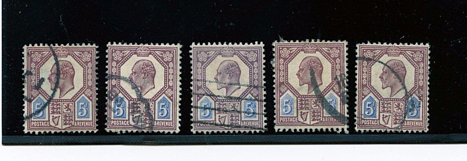 Great Britain #134 X (5) (GR623) King Edward VII the 5 p dull purple,U,CV$112.50
