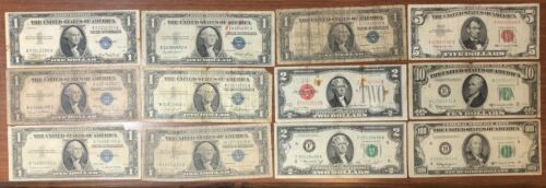 usa 1935 - 1976 1 - 2 -5 - 10 - 100 $ dollars 12 bank notes lotto. 2721