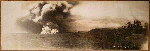 Hawaii -  May 1924 Panoramic Photo of KilaueaEruption - Volcano!